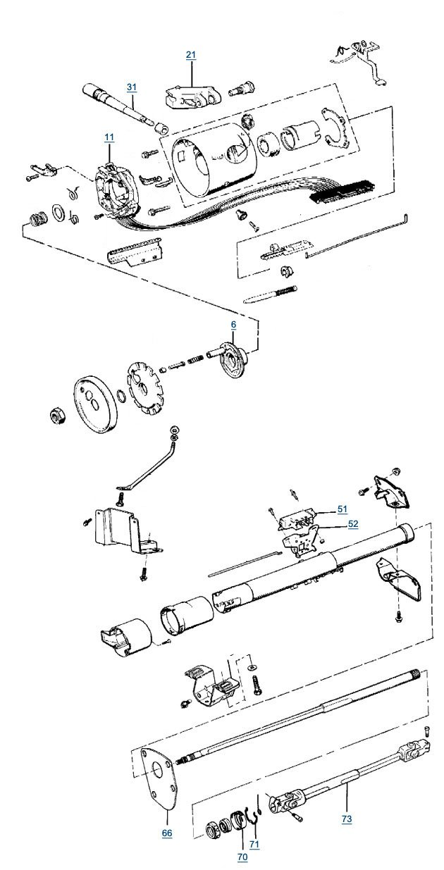 yj wrangler steering column parts