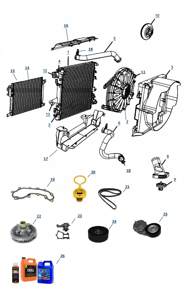 jeep jk wrangler cooling parts