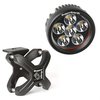 Rugged Ridge Round LED Light and X Clamp