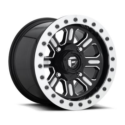 MHT Fuel Offroad Hardline D910 Beadlock, 15x10 Wheel with 4 on 136 Bolt Pattern - Gloss Black Milled - D9101500A664