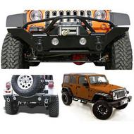 Rampage Front and Rear Bumpers with Fender Flares Package (Black) - 0716BUMPKG
