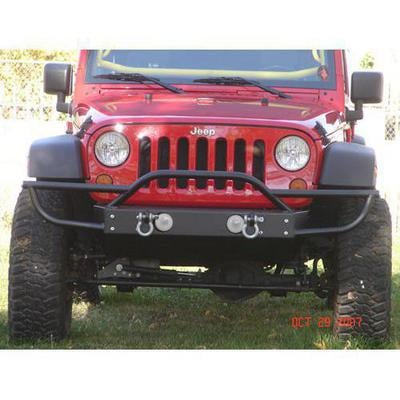 Rock Hard 4x4 Parts Shorty Front Bumper with Tube Extensions with Fog Lights (Black) - RH-5003